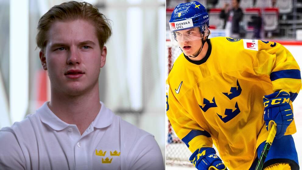 Victor Söderström inför Sveriges kvartsfinalen mot Finland i Junior-VM.