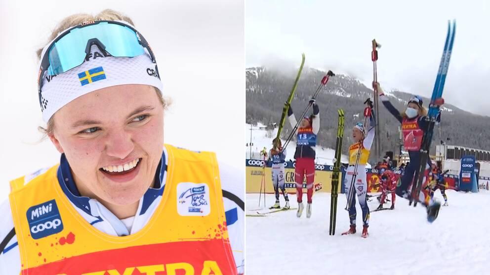 Linn Svahn hoppade inte vid segerbilden.