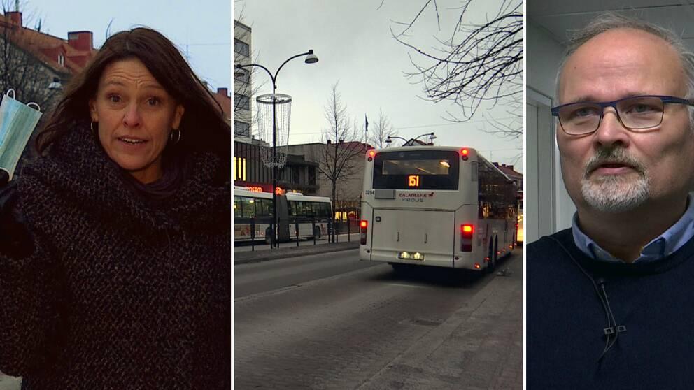 en kvinna med munskydd i handen, en buss och en man med grått hår.