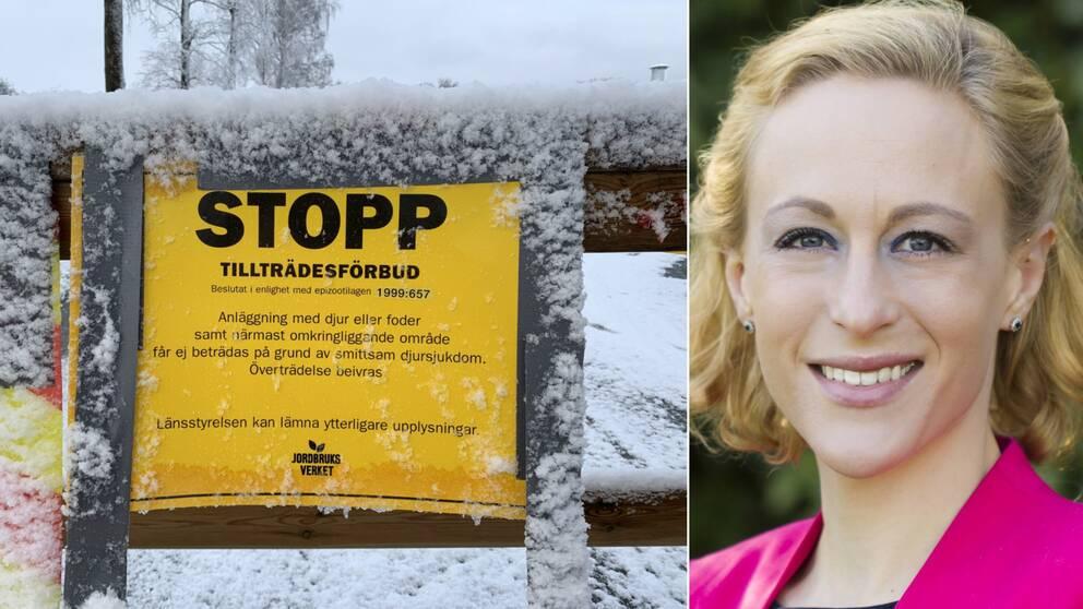 Blentas fjäderfäanläggning utanför Blentarp är avspärrad. Blentagruppens veterinär Bodil Wahlgren.