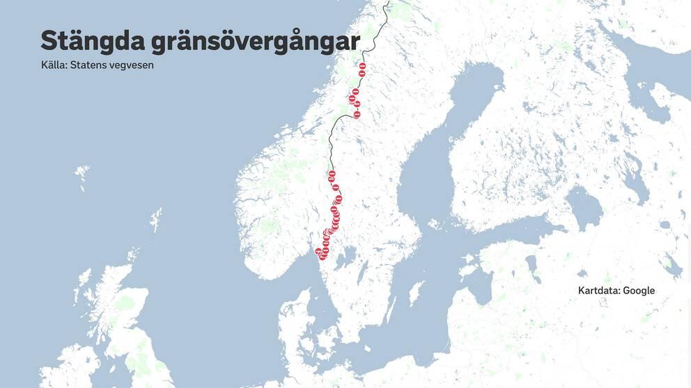 Karta över Norden med röda markeringar längs gränsen mellan Norge och Sverige.