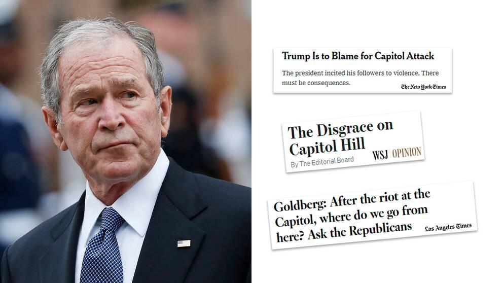Förre republikanske president George W Bush reagerar starkt på händelserna i Washington.