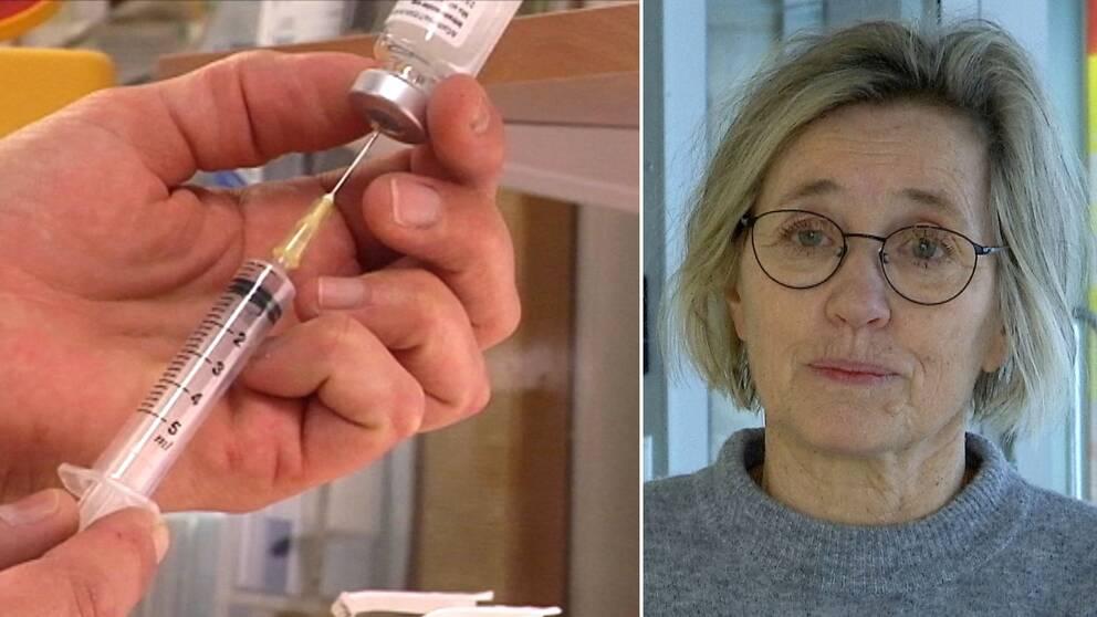 Dubbelbild. Till vänster en spruta som fylls på med vaccination. Till höger en blond kvinna med stålbågade glasögon och grå tröja.