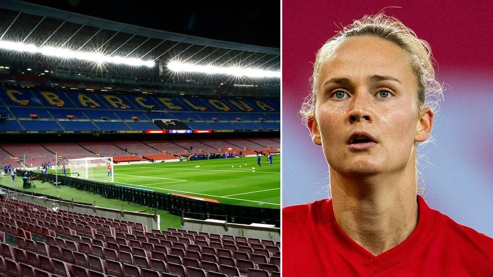 Camp Nou och Barcelonas Caroline Graham Hansen.
