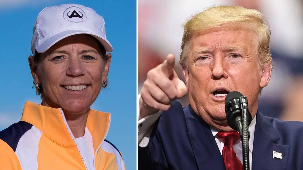 Annika Sörenstam och president Donald Trump.