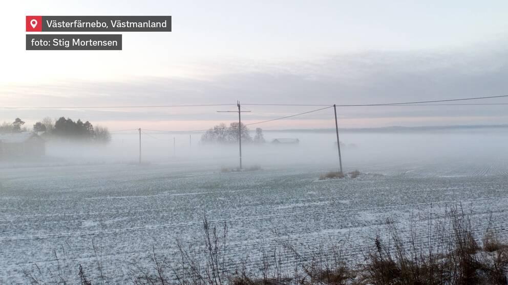 Tät dimma och tunt snötäcke. Västerfärnebo i Västmanland den 9 januari.
