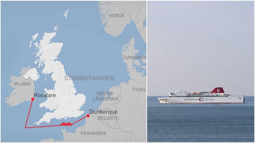 Karta över sträckan Dunkerque – Rosslare