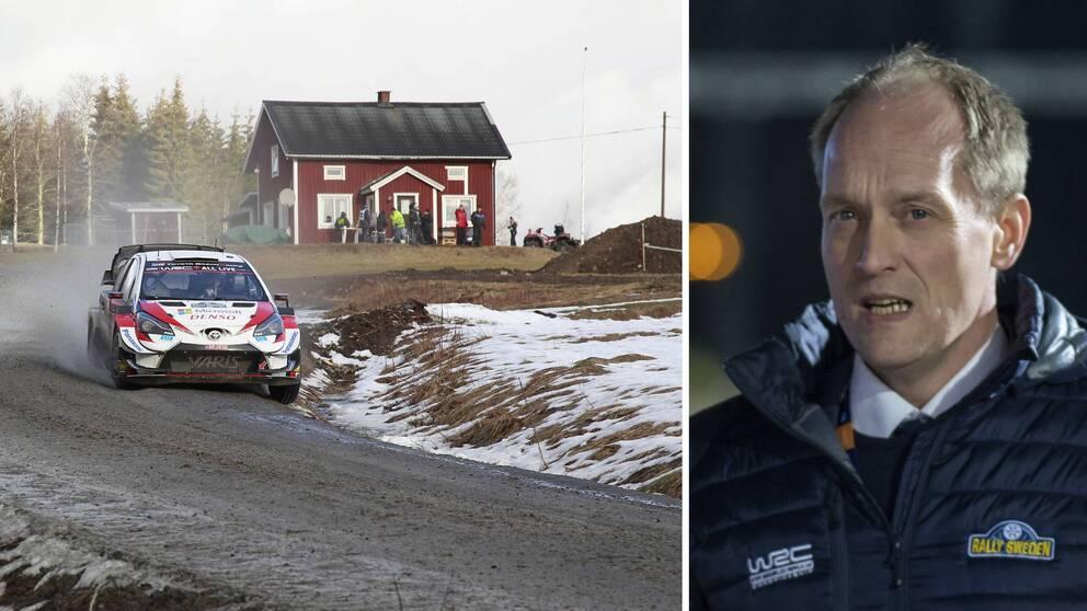 Två bilder. En rallybil på en grusväg under Svenska rallyt 2020 samt rallyts vd Glenn Olsson.