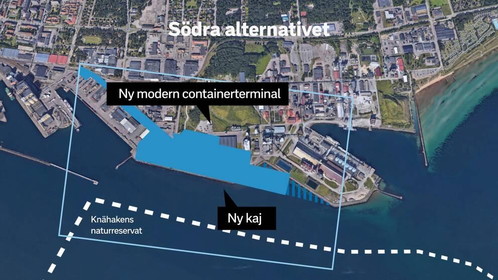 En grafisk bild över det tilltänkta området för den nya containerhamnen.