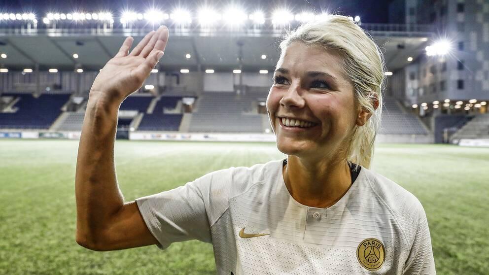 Andrine Hegerberg, här i PSG-tröjan efter en Champions League-match mot Linköping 2018. Arkivbild.