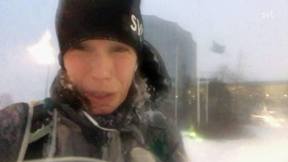 SVT:s reporter Anna Quayle om snökaoset.