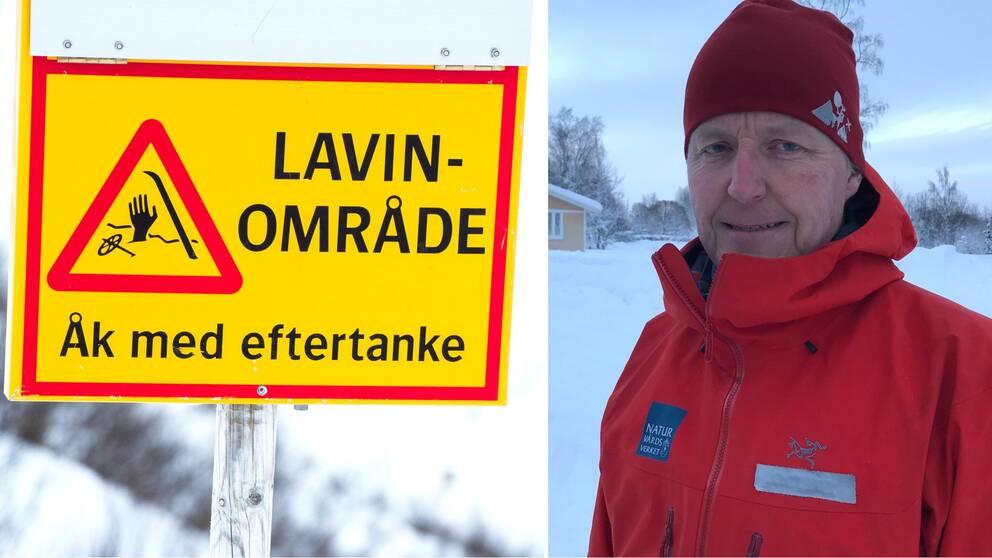 """Dubbelbild. Till vänster en gul skylt med röda markeringar och texten """"Lavinområde, Åk med eftertanke"""". Till höger man med röd jacka och röd mössa."""