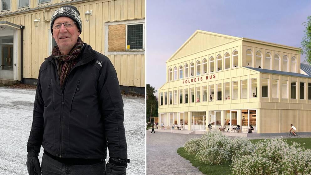 Knut Lindgren till vänster, upprustat Kulturhus till höger.