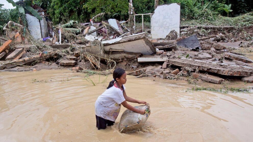 Bilden visar ett översvämmat samhälle i norra Sumatra, Indonesien, efter kraftiga regn i slutet av förra året. Arkivbild.