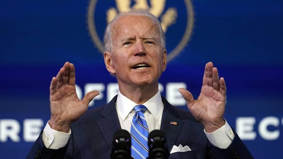 Joe Biden vill utöka vaccineringen av covid-19 i USA. Bilden visar Joe Biden under ett tal.