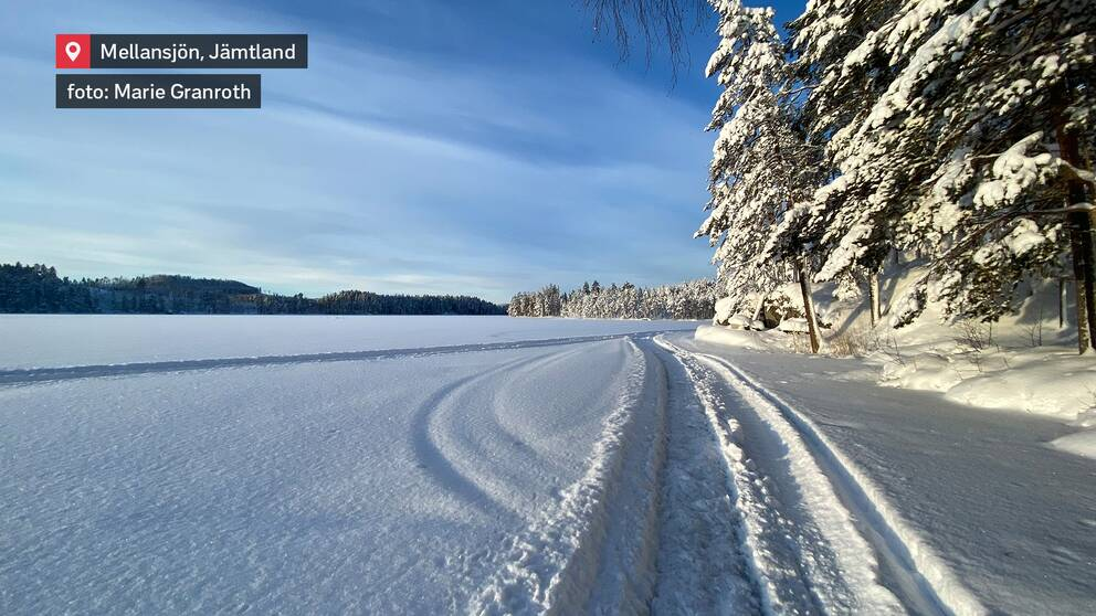 Strålande vackert och kallt vinterväder i Mellansjön utanför Kälarne i nordöstra Jämtland den 15 januari.