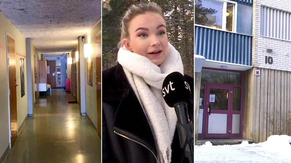En studenkorridor, en kvinnlig studen och porten till ett studentboende i Flogsta