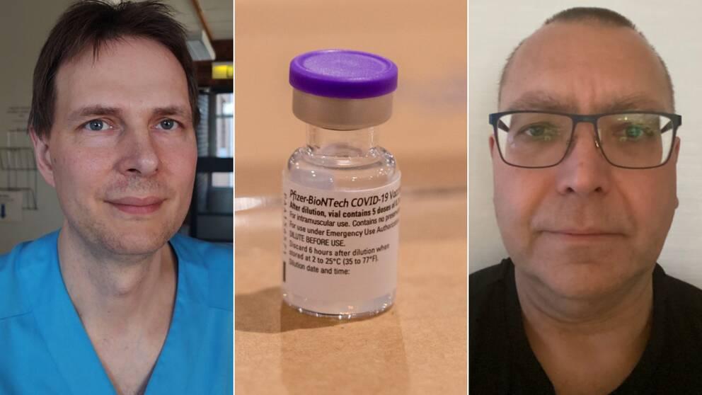 Bilden är ett collage med tre bilder. Den vänstra är en porträttbild på Christian Blomkvist och den högra en porträttbild på Magnus Munge. I mitten mellan dem är en bild på en vaccinburk med lila lock.