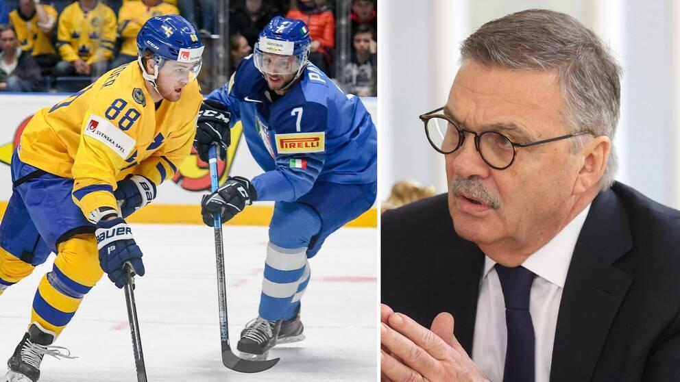 Pressen är stor på IIHF:s ordförande René Fasel, till höger.