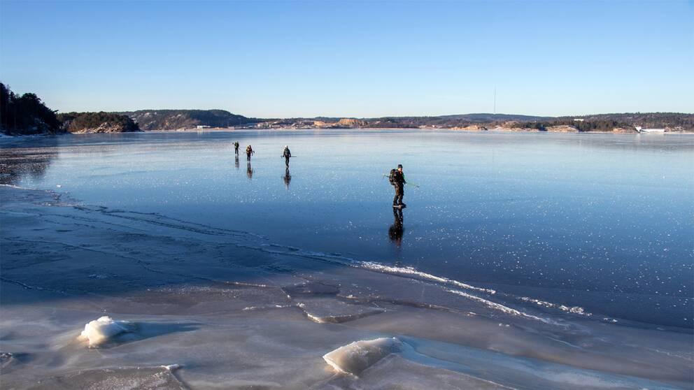 Lördag 16 januari var det skridskoväder på Byfjorden i Uddevalla, Bohuslän. Isen som en spegel och halva Uddevalla ute och promenerade. Ca -10 grader.
