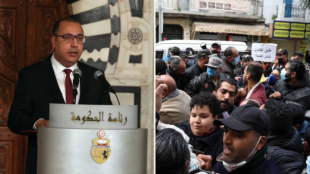 Tunisiens premiärminister Hichem Mechichi/ Demonstrationer i Tunisiens huvudstad tidigare i veckan.