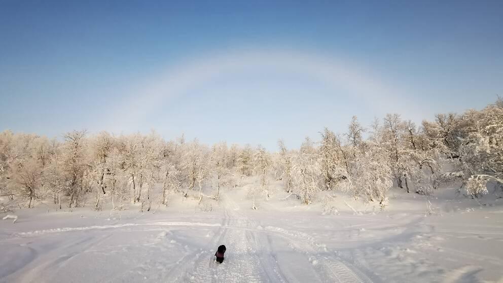 En dimbåge visade sig i Joeström utanför Storuman, Lappland.