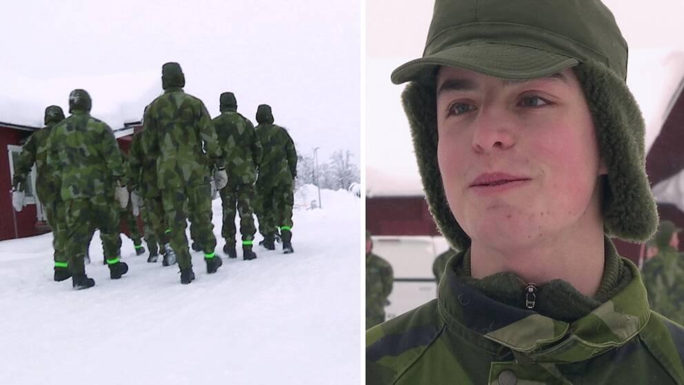 Till vänster en grupp rekryter i snömiljö och till höger en bild på en nyrekryt.