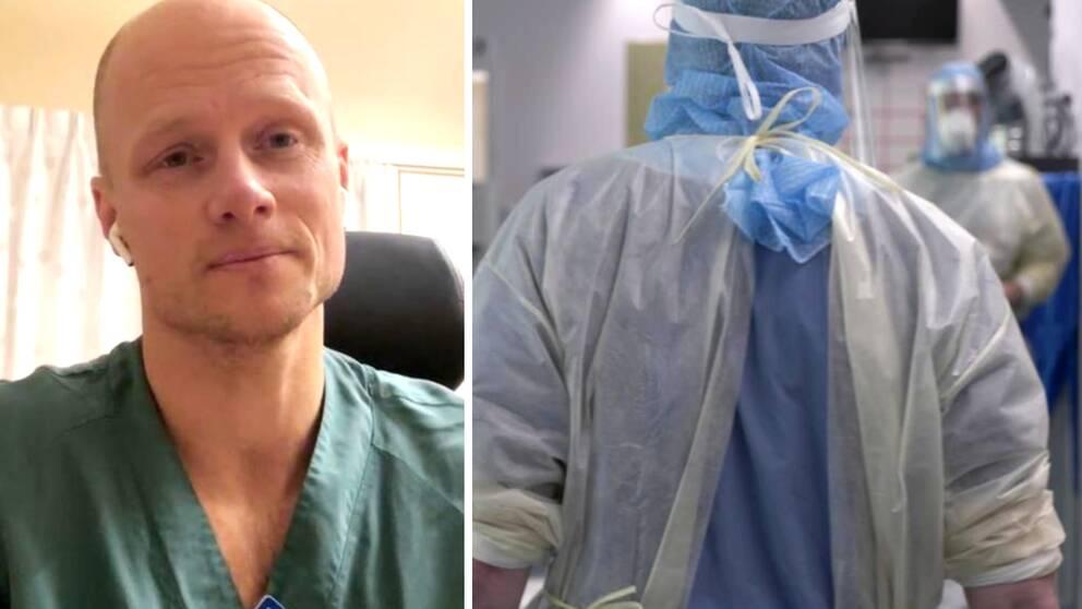 Till vänster en specialistläkare och till höger en bild på vårdpersonal i skyddsutrustning.