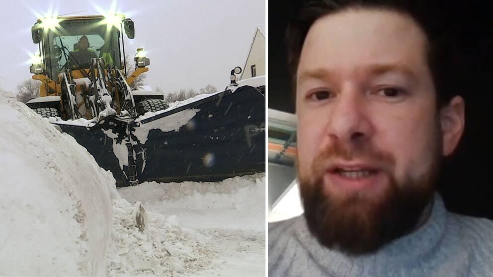 Dubbelbild. Till vänster traktor som schaktar snö. Till höger en skäggig man i grå stickad tröja.