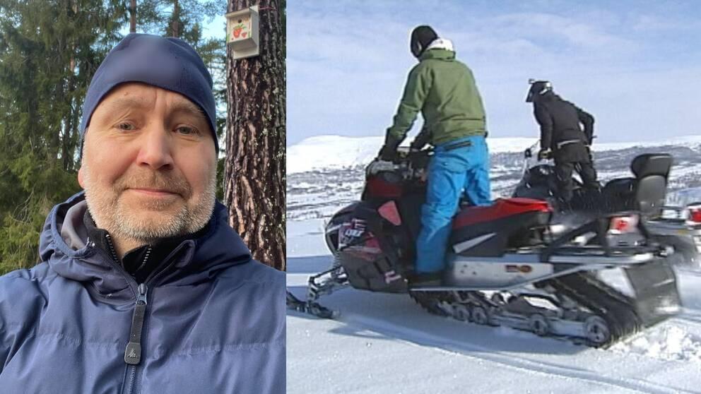 Till vänster: Bild på Peter Granåsen stående framför ett träd iklädd marinblå jacka och mössa. Till höger arkivbild på två skoterförare som blickar ut över ett fjäll.