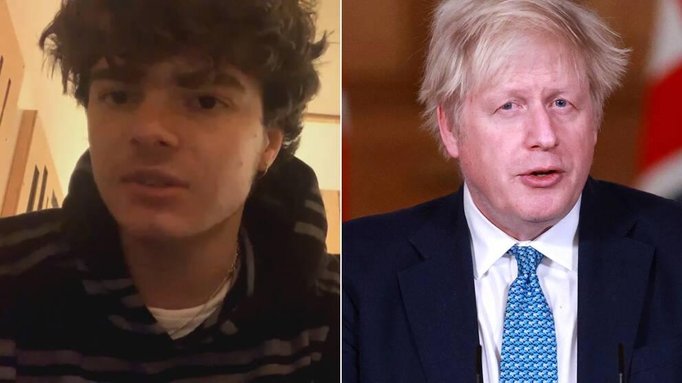 Sydney Minsky-Sargeant i Working men's club och Storbritanniens premiärminister Boris Johnson.