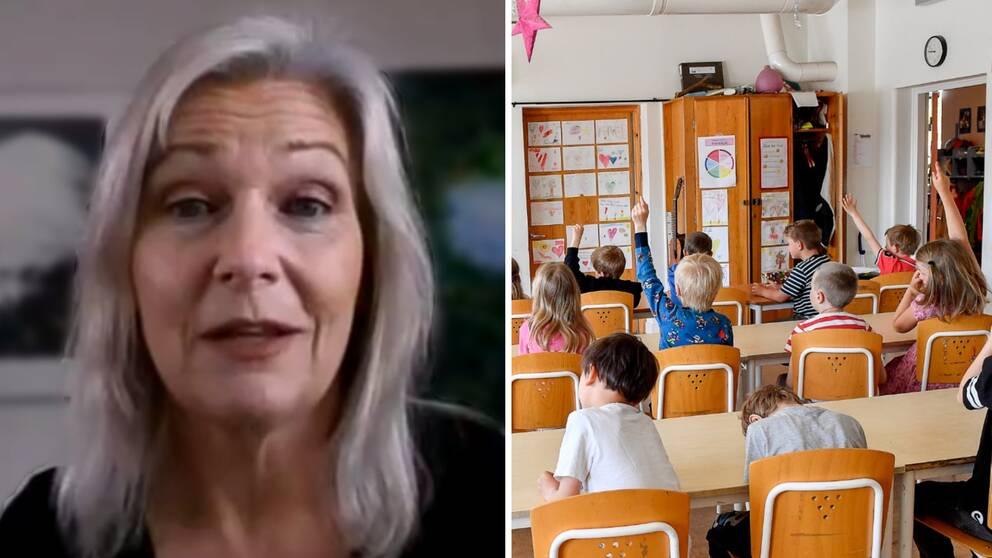 Till vänster en kvinna som syns via webbkamera och till höger ett klassrum med barn.