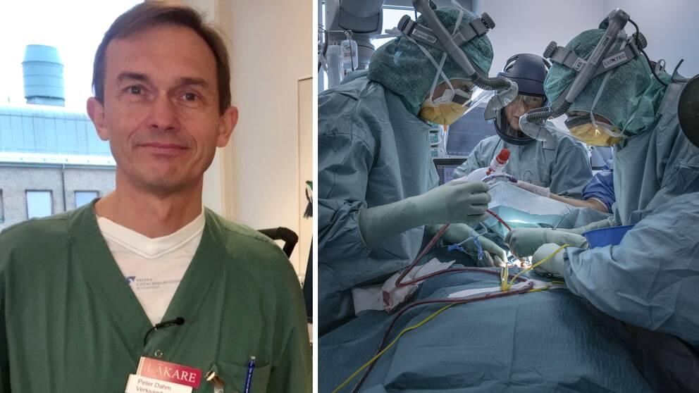 Till vänster en man i sjukhuskläder, till höger en bild på intensivvårdspersonal som behandlar en patient i skyddsutrustning.