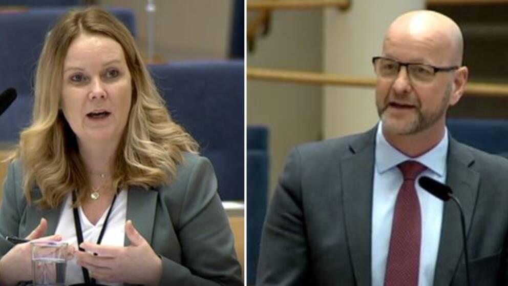 jordbruksminister Jennie Nilsson och riksdagsledamoten Magnus Oscarsson i riksdagens talarstol