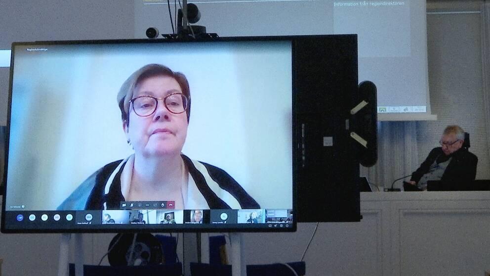 En kvinna på en dataskärm när kommunfullmäktige har sitt första digitala möte