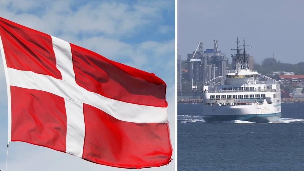 Till vänster i bild syns Danmarks flagga och till höger en bild på en färja.