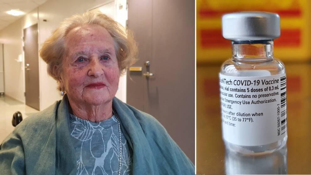 Kvinna bredvid en ampull med vaccin mot covid-19.