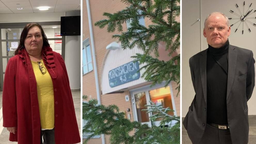 Montage i tre delar. Vänster: Marie Palmgren. Mitten: Ett äldreboendes exteriör med ett träd i förgrunden. Höger: Bengt Friberg.