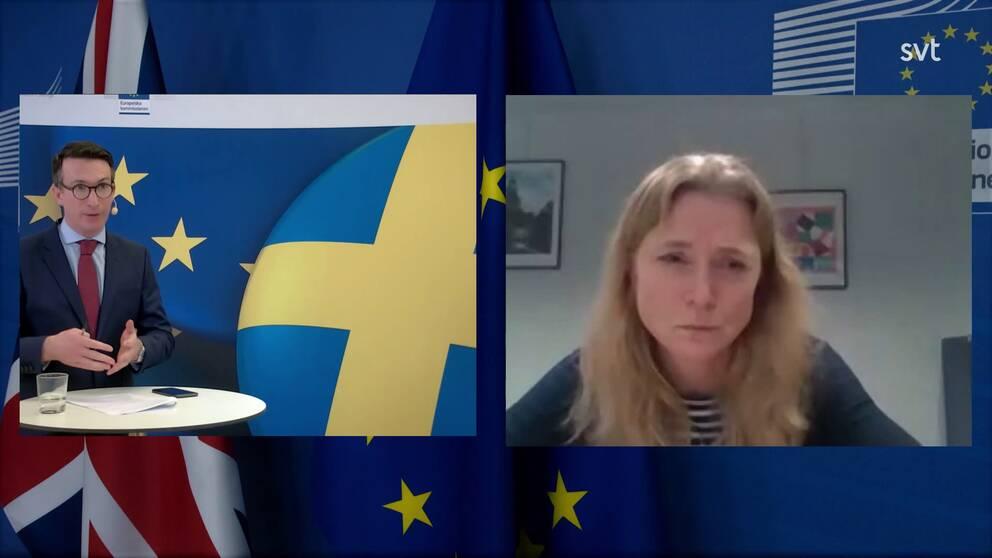 Moderator James Savage och Paulina Dejmek Hack, EU-kommissionen.