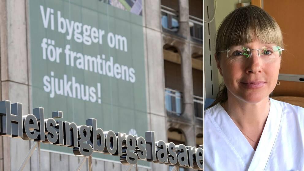 Bild på Helsingborgs lasaretts entréskylt och Johanna Wagenius.