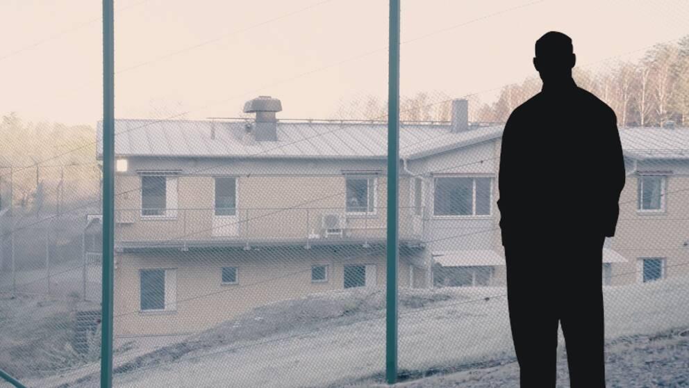 Manlig siluett framför ungdomshemmet Sis Björkbacken