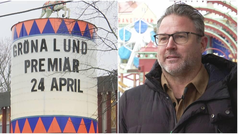 En skylt med texten Gröna Lund premiär 24 april, bild på gröna lunds vd Magnus Widell.