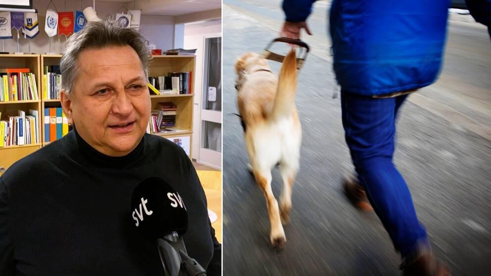 En man från Synskadades Riksförbund står framför kameran och blir intervjuad, bredvid en bild på en gående man med en ledarhund.
