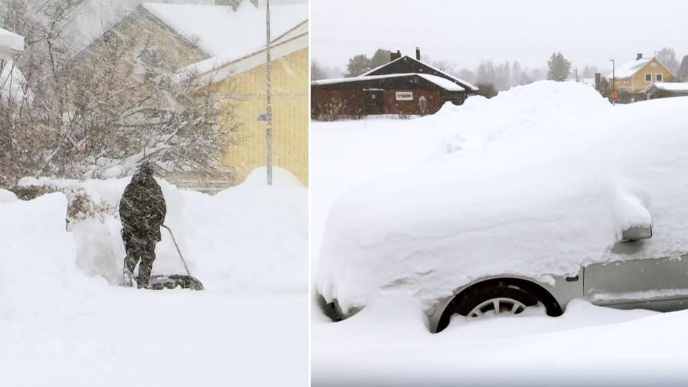 Stora snömängder på gator i Luleå.