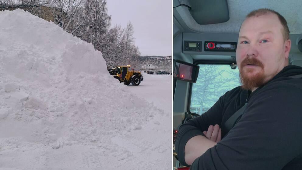jättelik snöhög i förgrund, en fotgängare och en traktor som arbetar med snöröjning, samt närbild på man i traktorhytt