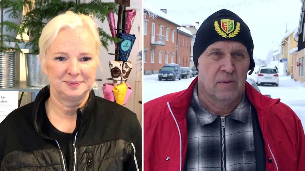 Dubbelbild. Till vänster blond kvinna i mörk jacka i en blomsteraffär. Till höger man med svart mössa och röd jacka utomhus på snöig gata.