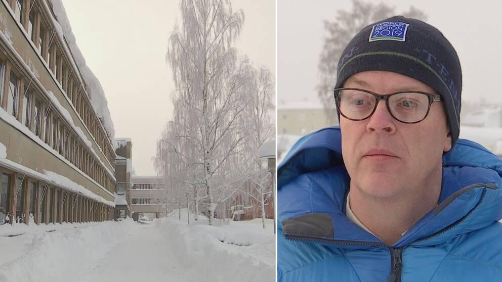 Dubbelbild. Till vänster en beige byggnad i tre våningar. Snö på bilden. Till höger man med svart mössa, glasögon och blå jacka.