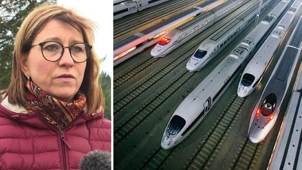 till vänster en kvinna iklädd röd jacka och till höger en bild på snabbtåg.