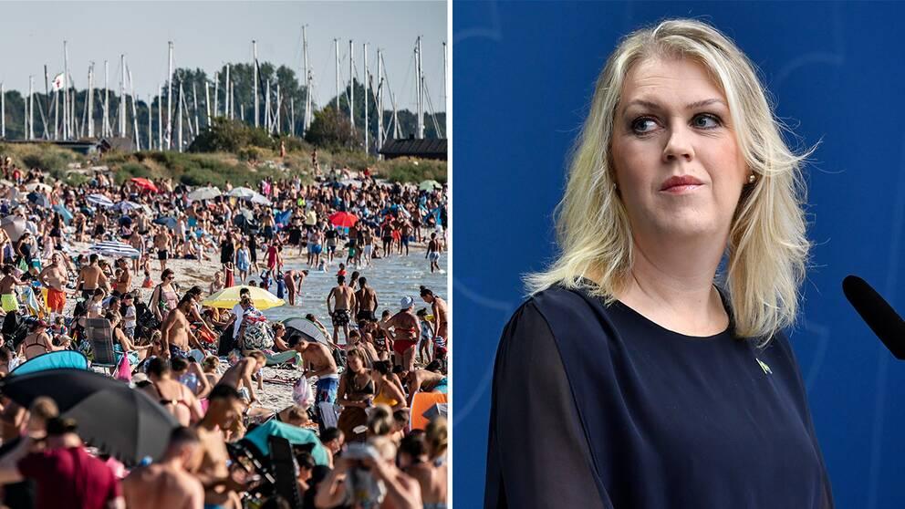 Fullpackat på badstrand i Lomma/ Socialminister lena Hallengren (S).