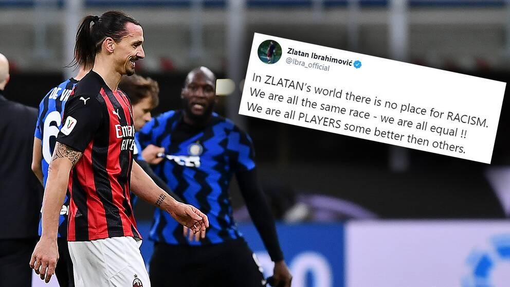 """Zlatan Ibrahimovic twittrade dagen efter storbråket med Romelu Lukaku: """"I Zlatans värld finns det ingen plats för rasism""""."""